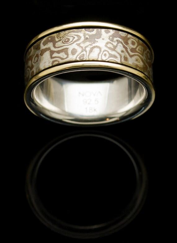mokume gane ring 18k gold silver ring handmade gold ring
