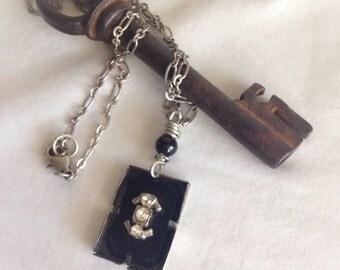 Vintage Mourning Vulcanite And Rhinestone Bezel Necklace by WinterPearlsDesigns Winter Pearls Designs