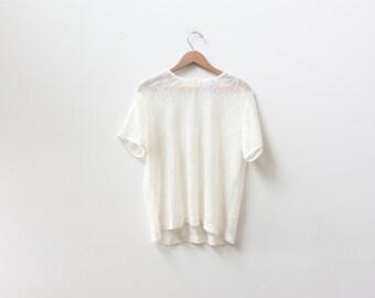 Minimal White Sheer Lace Top
