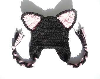 Cat Ears CROCHET PATTERN Crochet Earflap Hat Ear Flap Hat with Ears Kitten Ears Animal Hat Animal Ear Hat Anime Cosplay Costume Kawaii Hat