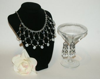 Lace Seed Bead Silver and Black Necklace with Matching Earrings Native American Style     Free Shipping