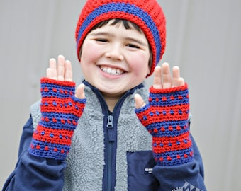 RTS Striped Winter Hat and Fingerless Mitten Set Boys Red and Blue Hat and Gloves Wool Blend Crochet Toddler Hat and Mittens READY to SHIP