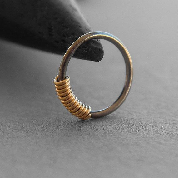 One 1 20 Gauge Niobium Nose Ring Gold Filled Coil Dark