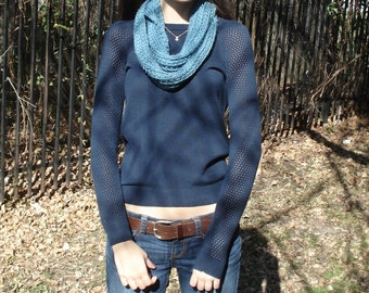 Dusty Blue Ribbed Infinity Scarf