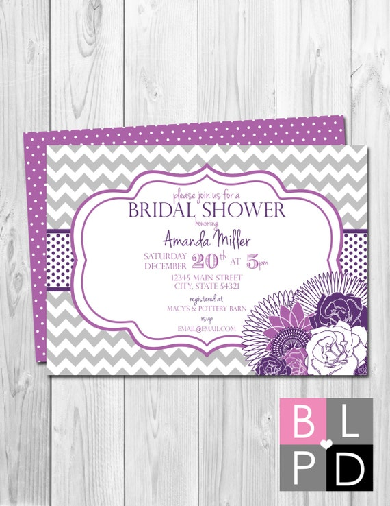 Bridal Shower Invitation Chevron Stripes & Floral - Purple, Grey - BACKSIDE INCLUDED - DIY - Printable