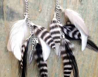Black and White Dangle Feather Earrings