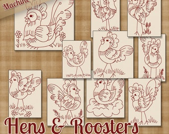 Redwork Hens and Roosters Machine Embroidery Patterns / Designs - 4x4 and 5x7 Hoop - 10 Fun Chicken Designs 2 Sizes INSTANT DOWNLOAD