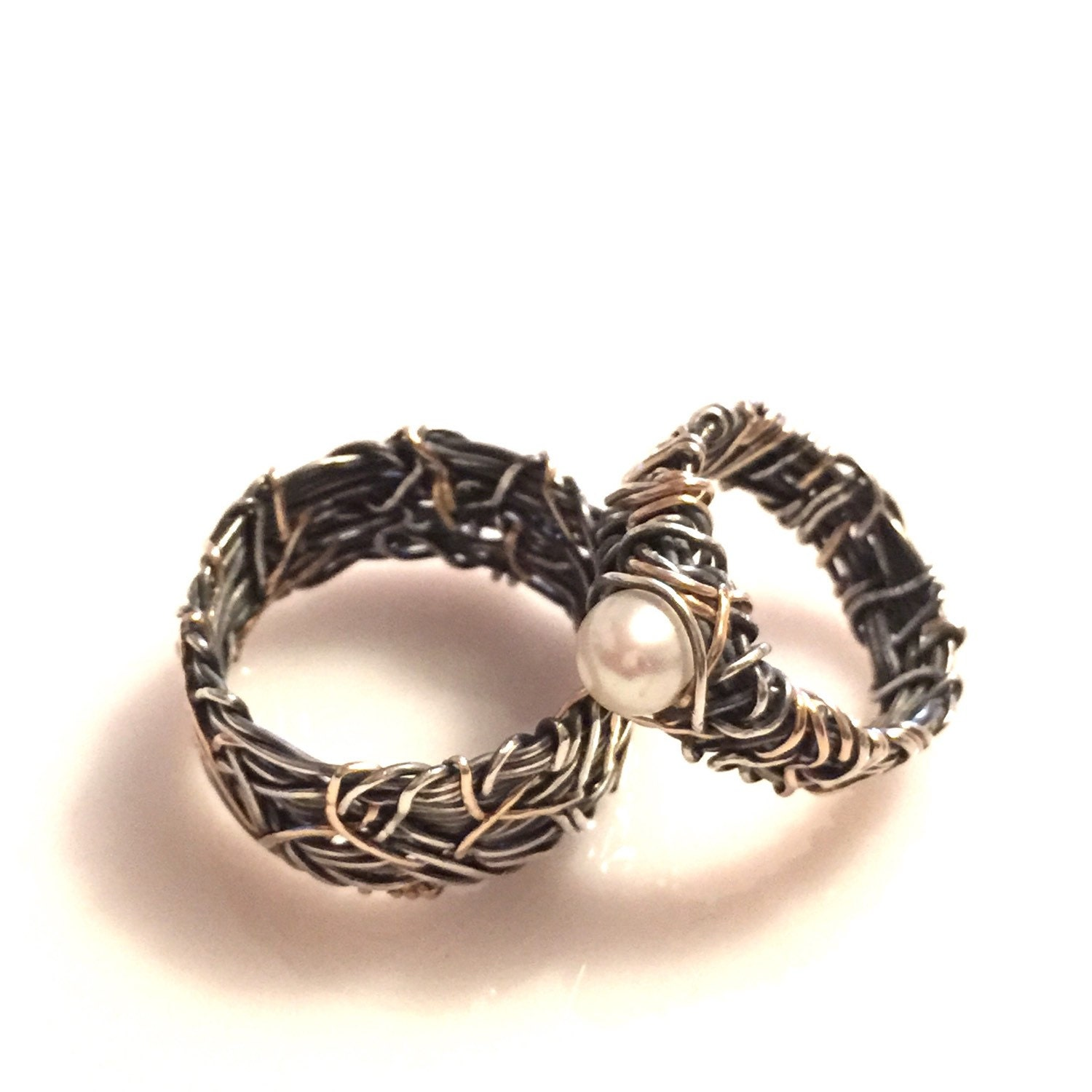 14k gold and oxidized silver his and hers wedding rings