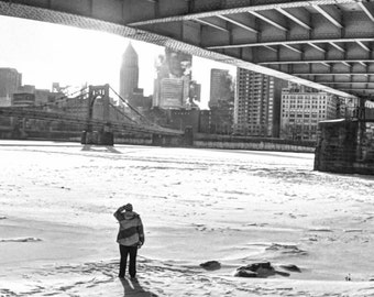 Pittsburgh Panorama Photo, black and white HDR photograph, black & white fine photography print, Beneath the Bridge