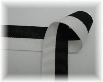 "2 yards of 7/8"" Black & White Grosgrain Ribbon"