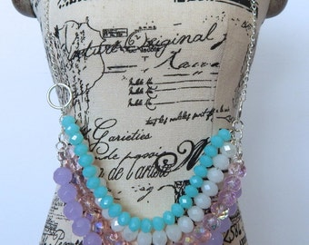 Spring Color Beaded Statement Necklace