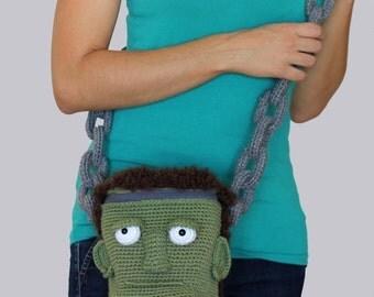 PATTERN: Halloween Crochet Frankenstein Zombie Bag Frankenpurse