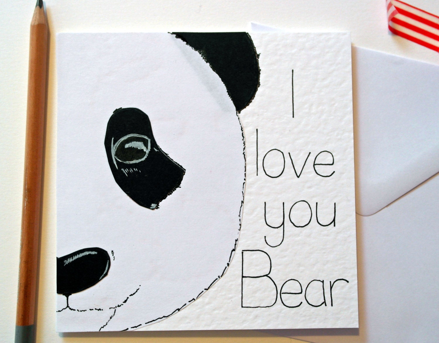 Valentine Panda Handmade Greeting card Cute Valentines card – Funny Cute Valentines Cards