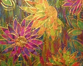 """Crazy Flowers--Mixed Media Canvas 12 X 12"""", Hand Painted"""
