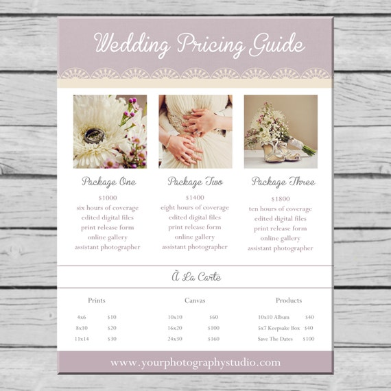 Wedding Photography Packages Template: Items Similar To Wedding Photography Pricing Guide
