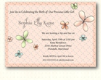 Sip and See Invitation, butterfly, butterflies, girl, pink, yellow, flowers, digital, printable, invite SS1453