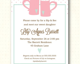 Sip and See Invitation, sip n see, gender reveal, girl, polka dots, pink, coffee cups, digital, printable, invite, SS1451