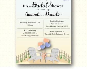 Beach Bridal Shower Invitation, nautical, luncheon, brunch, bachelorette, blue, peach, digital, printable, invite BW26153
