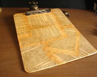 Handmade OOAK Clipboard Vintage Book Paper