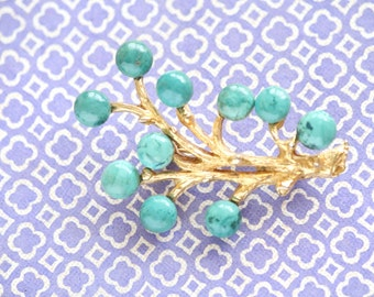 Vintage Gold Tone Tree Branch Brooch With Turquoise Accents