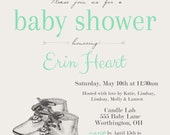 Vintage Book Baby Shower Invite set of 25- gender neutral, boy, girl, baby books, baby shoes