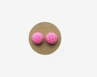 Pink Dot Earrings // Polka Dot Earrings // Fabric Button Earrings // Pink // Polka Dot Fabric // Stud Earrings // Nickel Free // Fall Trends