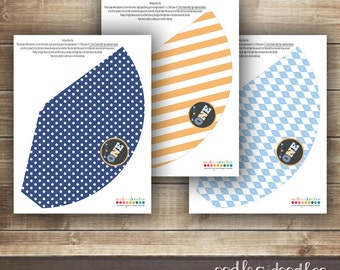 1st Birthday Party Hats / First Birthday Party Hats / Boy's Party Hats / Blue and Orange / Argyle, Stripes & Polka Dots - Printable