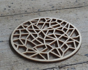 coasters laser cut from wood - set of 4