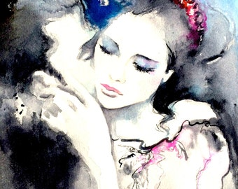 Love Kiss Romance Art Print, Romantic Bliss Print on Canvas, contemporary art, modern wall art  for your home wall decor
