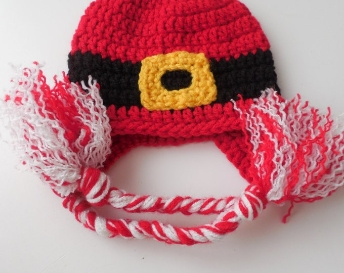 Santa Hat - 0 to 3 Months  Baby Christmas Hat - Red Holiday Hat - Handmade Crochet - Ready to Ship