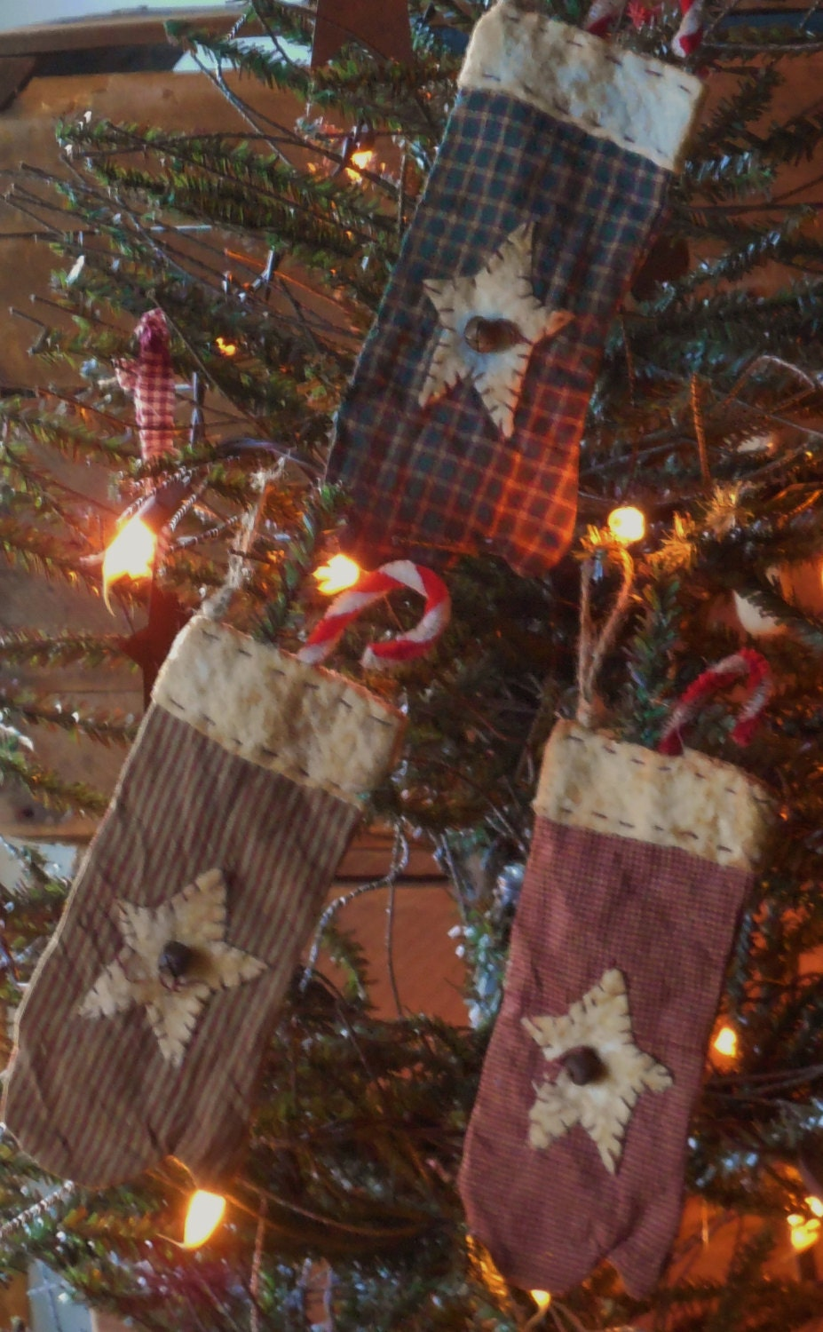 Primitive grubby handmade christmas mitten ornaments
