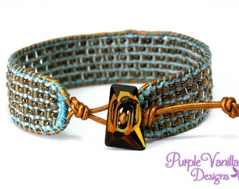 Aqua Beaded Macrame Bracelet, Micro macrame Button Bracelet, Knotted Cuff Bracelet with Seed Beads, Copper Leather Cord & Crystal Button