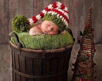 SALE Baby Boy Hat  Crochet Newborn Baby Girl Or Boy Christmas Elf Hat Santa Hat Stocking Cap red pink green