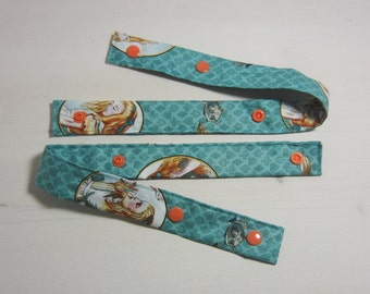 Set of 2 Alice Print Pacifier Straps with Orange Snaps // Pacifier clip // Pacifier safety strap