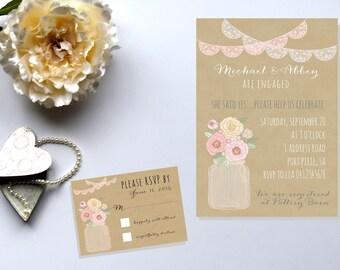 Mason Jar Wedding Invitation. Rustic Wedding. Engagement Invitation