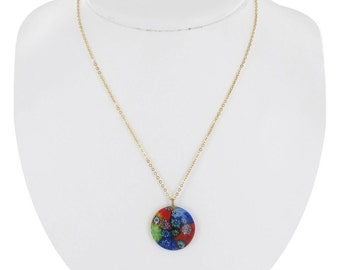 Round Glass Flower Multicolored Pendant Necklace