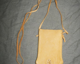 Handmade Hand Sewn Leather Neck Bag by Heidi Clauson
