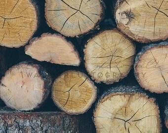 Fireside - Photographic print -  brown, natural, tan, bohemian, brown, natural, wood, rustic, folk, christmas 12 x 12, 16 x 16, 20 x 20