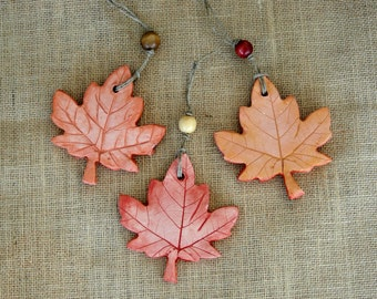 Autumn Maple Leaf Ceramic Clay Pottery Handmade Ornaments - Set of 3