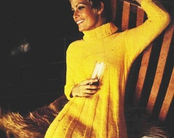KNITTING PATTERN - Long Sweater Dress - Cable Dress - Vintage pattern - PDF Instant Download - Sweater Dress - Ribbed Dress - Winter Pattern