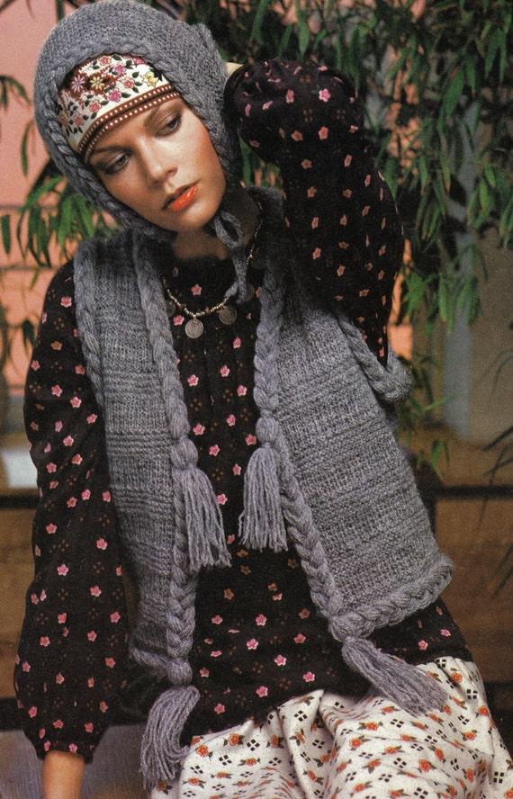Braided Sweater Vest Head Scarf Knitting Pattern Set Vintage