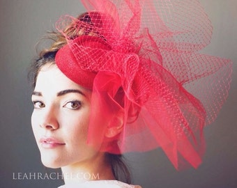 Red Fascinator Hat, Race Hat, Kentucky Derby Hat, Steeplechase Hat, Delmar Cup, Royal Ascot, Ladies Headpiece, Ruby and Cordelia's Millinery
