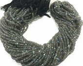 Labradorite Rondelle Faceted  3-4mm Gemstone Rondelle Beads Strand  - Full Strand  13.5 Inch- Peacock Color - SLB102
