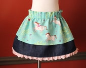 Sweet Horse Theme Skirt, Cotton and Denim, Pink Ruffle, Girl With Horse, Layered Skirt, Tutu Skirt, Green, White, Pink, Two Timing Skirt