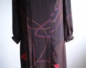 Vintage 1980s Abstract Print Dress Womens Size Medium 8/10 by Chigusa Bowbell Tokyo