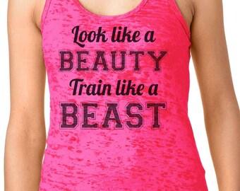 train like a beast look like a beauty Womens Workout Top American Apparel Racerback Tank Top Gym Fitness Running