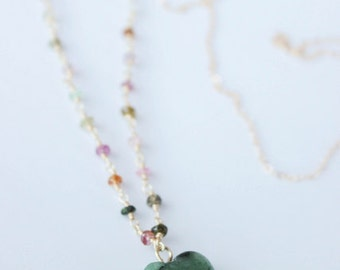 SALE! Nephrite green jade heart pendant 14k gold wire wrapped multi tourmaline 14k gold chain necklace