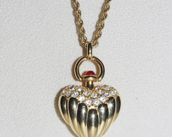 Joan Rivers Ribbed Heart Necklace - Gold Tone with Crystals - S2276