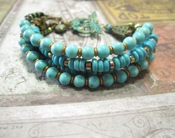 Beautiful Brass and Turquoise, Boho, Gypsy, Bohemain Bracelet