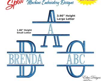 Split Monograms Machine Embroidery Designs Monograms Fonts BX Format Digital Download
